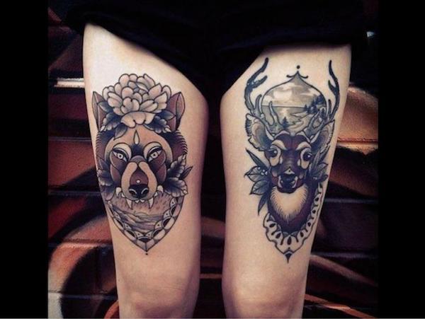 tattoo de animales en la pierna para mujeres